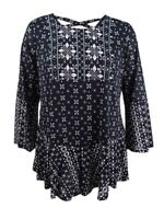 Style & Co Women's Plus Size Mixed-Print Flounce-Hem Top