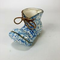 "Vintage Blue And White Pottery Cermaic Boot Planter 5.5"" X 3"""