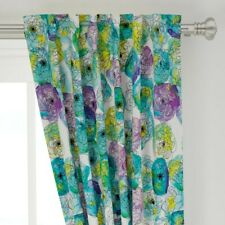 "Peonies Watercolor Floral Blue Green 50"" Wide Curtain Panel by Roostery"