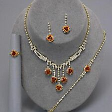 Glitzy Glamour - Gold topaz crystal rose necklace/bracelet/earring & ring set