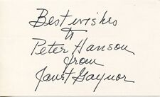 JANET GAYNOR Vintage Original RARE Hand Signed AUTOGRAPH CARD to PETER HANSON
