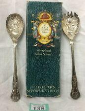 Stunning Pair Of Kings Pattern Berry Spoon Salad Servers In Original Box