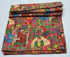 Queen Size Indian Cotton Kantha Quilt Gudari Bedspread Throw Coverlet Bed Cover