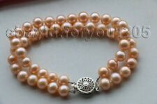 """8"""" Double Genuine Natural 8mm Pink Round Pearl Bracelet #f1843!"""
