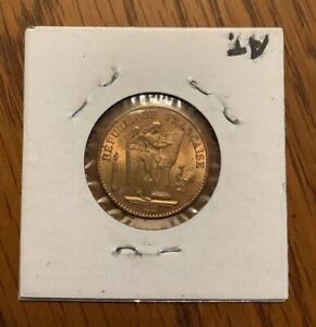 1877 gold Angel French 20 franc coin