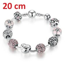 925 Silber Armband 20 cm Rosa Bead Bettelarmband Charms Liebe 10 Stück in 1 LOVE