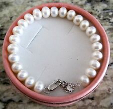 Cultured Freshwater Pearl Bracelet w/ Sterling Silver Clasp, Brand New, Handmade