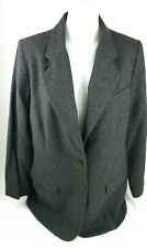 Eddie Bauer Charcoal Gray Lined Wool Blend Blazer Womens Sz Large New W/O Tags T