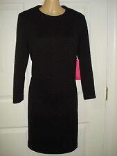 Betsey Johnson Wear to Work Long Sleeve Rose Jacquard Shift Dress Size 2