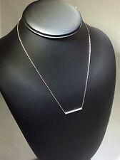 Genuine 0.07ct Diamond Bar 14K White Gold Necklace, Length Adjustable 16-18""