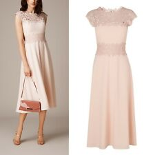 LK Bennett Occasion Dress Size 12 Worn Once Lace Overlay £355.00 Dr Selene Nude