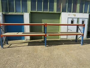 """2 BAYS QUALITY H/DUTY STORES CONTAINER RACKING WITH 1""""CHIPBOARD SHELVES"""