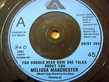 """MELISSA MANCHESTER - YOU SHOULD HEAR HOW SHE TALKS ABOUT YOU  7"""" VINYL"""