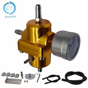 Universal Aluminum Adjustable 1-140 PSI  Fuel Pressure Regulator+W/Gauge Golden