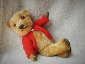 "CHILTERN VINTAGE 1940s GOLDEN PLUSH MOHAIR JOINTED 15 1/2"" TEDDY BEAR ''MAXIMUS"""