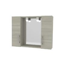 Savini 4496 Specchio da Bagno con 2 Ante Rovere - Grigio, 57 x 77 x 16cm