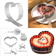 Multi-Function DIY Mousse Cake Mold Stainless Steel Baking Pan Adjustable Heart