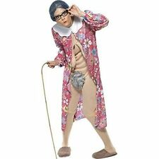 Smiffys Adult Unisex Gravity Granny Costume Dressing Gown and Bodysuit Funny S