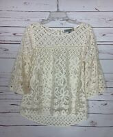 Figueroa & Flower Anthropologie Women's M Medium Ivory Lace Spring Top Blouse