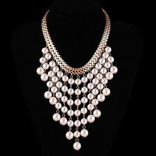 Fashion Gold Chain White Pearl Beads Charm Cluster Collar Statement Bib Necklace