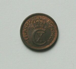 1940 ICELAND Nordic Coin - 1 Eyrir - AU++ toned-lustre - tiny size - die crack