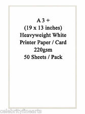 WHITE A3 + STAMPANTE Carta 50 FOGLI Pack BIADESIVO Heavyweight 220gsm Carta NUOVO