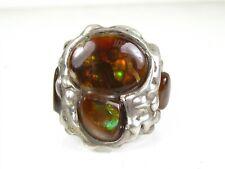Vintage Sterling Silver Natural Opal Large Mens Ring 25.8g