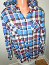 Kani Jeans Hooded Plaid Flannel Shirt Mens Size Large Button Front Drawstring