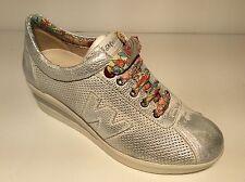 Melluso R20110 Con Crema Zapatillas Cuña Mujer Piel Verano Made IN Italy Calidad