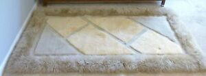 "Bowron Genuine Sheepskin Rug 65"" x 34"" Rectangle Geometric Design Natural Sheep"
