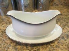 Vintage Sango China White/Grey Mist 6175 ~ Gravy Boat w/Attached Plate