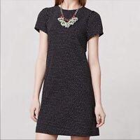 black MAEVE ANTHROPOLOGIE dress short sleeve polka dot knee length a line M