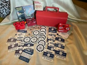 Huge Lot of Vintage Viewmaster reels, talking, and carrying case