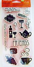 Perfect Blend Coffee Tea & Wine Cling Rubber Stamp Set by Fiskars NEW! 136680