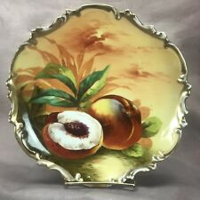 """George Borgfeldt Coronet Limoges Signed Barbet HP Fruit & Gold 10 1/4"""" Charger"""