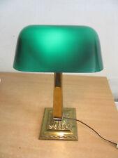 Antique Pat 1916 Emeralite #8734 green glass desk lamp, brass Restored