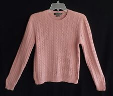 Ralph Lauren Rose Pink Cable Knit Cashmere Pullover Sweater Size L