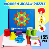 155pcs Wooden Jigsaw Puzzle Games Montessori Brain Educational Toy for Child Kid