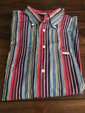 Men's Faconnable Striped Button Down Shirt- Size XL