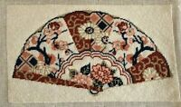 "Asian Fan needlepoint picture pillow handmade 10 x 6"" needlework Oriental"