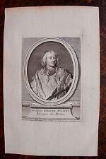 JACQUES DE BENIGNE DE BOSSUET . PORTRAIT, GRAVURE ORIGINALE , 1760