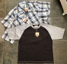 Lot Of 3 Men's Shirts Short Sleeve 2 Plaid Button Up 1 Raglan Jersey Size XL
