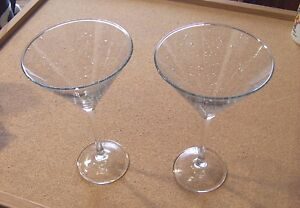 """Eat Drink and Be Married stem glass set 7-7/8"""" tall 4-3/4"""" Wedding his & hers"""