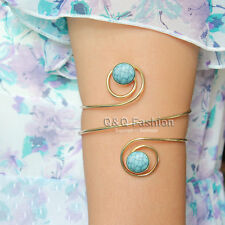 Gold Double Turquoise Stone Swirl Arm Cuff Armlet Armband Bangle Bracelet Dancer