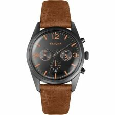 KAHUNA MEN'S BLACK FACE BROWN STRAP SPORTS STYLE WATCH -KCS-0012G -RRP:£60 /