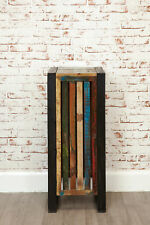 Urban Chic Reclaimed Wood Lamp Table 1 Drawer Tall Plant Stand Steel Frame