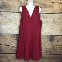Modcloth Womens 3X Dress Sleeveless V Neck Fit Flare Crimson Red NEW
