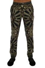 NEW $1500 DOLCE & GABBANA Pants Green Carretto Print Silk Dress Formal IT46/W32