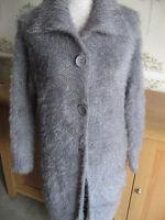 LADIES Grey Long Cardigan Coatigan Jacket Knitwear Throw Size 10-12 BNWT