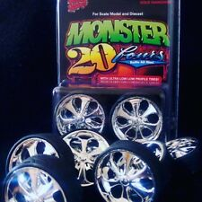 1 Set Hoppin Hydros 1/24 scale MONSTER 24s PRIMOS Wheels Rim & Tires Model Car